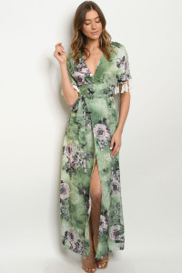 S10-2-1-D60586 GREEN W/ FLOWERS PRINT DRESS 2-2-2