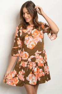 C96-A-3-D5000 BROWN FLORAL DRESS 2-2-2