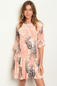 C93-A-6-D5000 CREAM PEACH PAISLEY PRINT DRESS 2-2-2