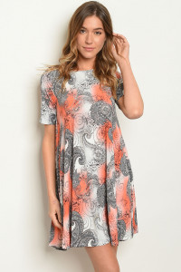 C97-A-5-D3500 GREY CORAL PAISLEY PRINT DRESS 2-2-2