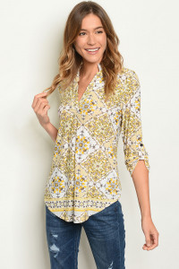 C53-B-7-T3288 IVORY YELLOW PRINT TOP 2-2-2