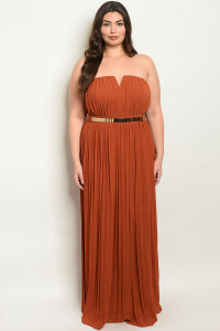 S25-2-1-D9594X BRICK PLUS SIZE DRESS 3-2-1