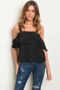 S14-5-5-T20226 BLACK W/ POLKA DOTS TOP 2-2-2