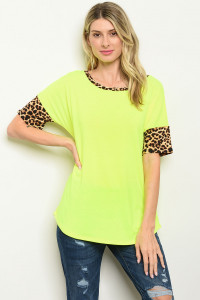 C76-B-5-T2204 NEON YELLOW ANIMAL LEOPARD PRINT TOP 2-2-2