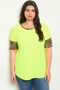 C81-B-2-T2204X NEON YELLOW LEOPARD PRINT PLUS SIZE TOP 2-2-2