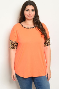 C79-B-2-T2204X NEON ORANGE LEOPARD PRINT PLUS SIZE TOP 2-2-2