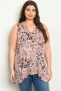 C77-A-6-T2209X PINK ANIMAL LEOPARD PRINT PLUS SIZE TOP 2-2-2