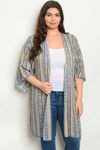 C1-A-1-C1005X ROYAL WITH PAISLEY PRINT PLUS SIZE KIMONO 2-2-2
