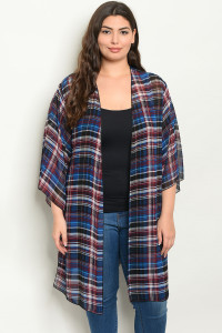C9-A-2-C1005X NAVY CHECKERED PLUS SIZE KIMONO 2-2-2