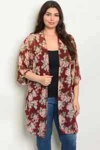 C12-A-2-C1005X BURGUNDY WITH FLOWER PRINT PLUS SIZE KIMONO 2-2-2