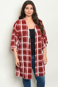 C13-A-2-C1005X BURGUNDY CHECKERED PLUS SIZE KIMONO 2-2-2