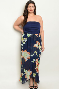 Y-B-D0980X NAVY FLORAL PLUS SIZE DRESS 2-2-2