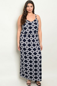 C33-A-4-D10351X NAVY WHITE PRINT PLUS SIZE DRESS 2-2-2