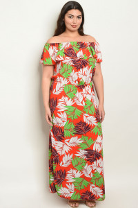 S17-11-3-D0981X RED WITH LEAVES PRINT PLUS SIZE DRESS 1-1-1