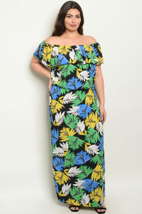 Z-B-D0981X BLACK WITH LEAVES PRINT PLUS SIZE DRESS 2-2-2