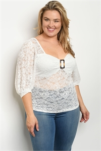 C38-B-4-T1226X WHITE PLUS SIZE TOP 2-2-2