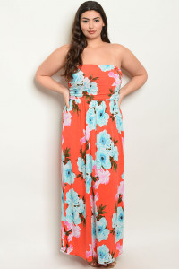 Z-B-D00274X ORANGE FLORAL PLUS SIZE DRESS 2-2-2