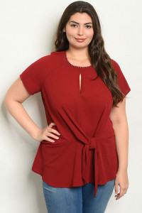 S20-4-2-T9839X BURGUNDY PLUS SIZE TOP 2-2-2