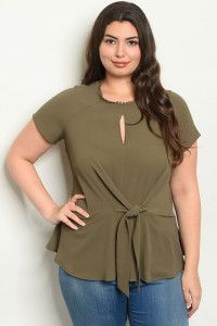 S19-4-3-T9839X OLIVE PLUS SIZE TOP 2-2-2