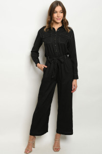 S21-5-2-J1452 BLACK JUMPSUIT 3-2-1