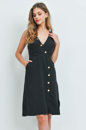 S11-1-3-D73692 BLACK STRIPES DRESS 2-2-2