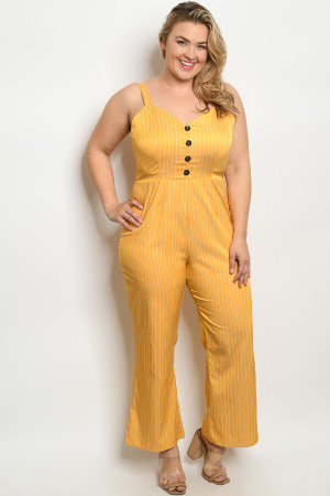 S9-17-3-J10401X MUSTARD STRIPES PLUS SIZE JUMPSUIT 2-2-2