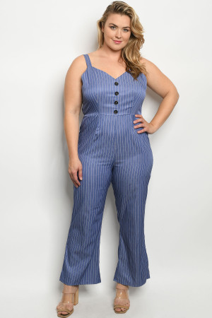 S10-20-4-J10401X BLUE STRIPES PLUS SIZE JUMPSUIT 2-2-2