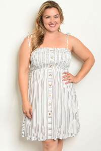 S21-9-5-D58588X WHITE STRIPES PLUS SIZE DRESS 2-2-2
