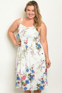 S20-11-2-D32491X WHITE FLORAL PLUS SIZE DRESS 2-1-1