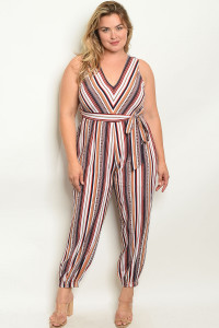 S20-11-2-J38755X NAVY MULTI STRIPES PLUS SIZE JUMPSUIT 3-1-2