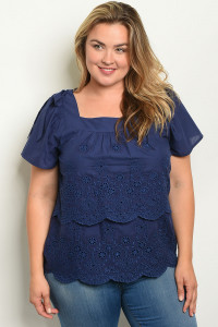 S20-11-2-T59632X NAVY PLUS SIZE TOP 2-3-1
