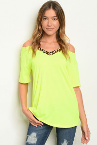 C76-A-2-T2206 NEON YELLOW LEOPARD PRINT TOP 2-2-2