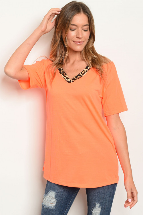C84-A-6-T2206 NEON ORANGE LEOPARD PRINT TOP 2-2-2