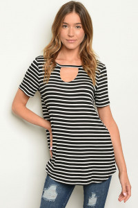 C86-A-2-T2213 BLACK WHITE STRIPES TOP 2-2-2