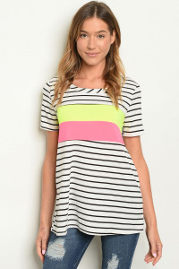 C89-A-1-T21931 WHITE BLACK STRIPES TOP 2-2-3