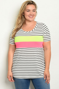 C89-A-4-T21931X WHITE BLACK STRIPES PLUS SIZE TOP 2-2-2