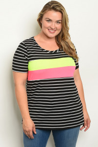 C89-A-4-T21931X BLACK WHITE STRIPES PLUS SIZE TOP 2-2-2