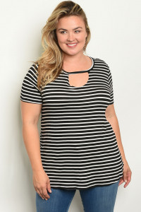 C85-A-3-T2213X BLACK WHITE STRIPES PLUS SIZE TOP 2-2-2