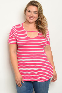 C83-A-3-T2213X FUCHSIA WHITE STRIPES PLUS SIZE TOP 2-2-2