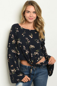 S12-11-4-T123444 NAVY FLORAL TOP 3-2-1