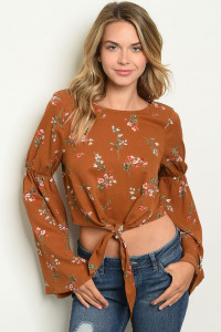 S12-11-4-T123444 CAMEL FLORAL TOP 3-2-1