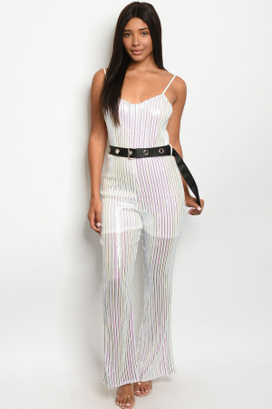 S9-16-3-J1410 WHITE SILVER WITH SEQUINS JUMPSUIT 3-1-2  ***WARNING: California Proposition 65***