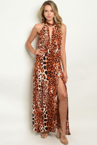 C21-A-7-D7615 IVORY ANIMAL LEOPARD PRINT DRESS 2-2-2