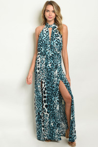 C33-A-7-D7615 BLUE ANIMAL LEOPARD PRINT DRESS 2-2-2