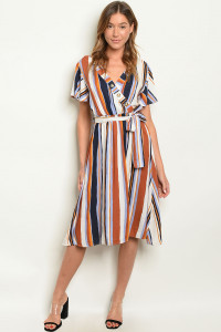 C31-A-2-D3199 BRICK MULTI STRIPES DRESS 2-2-2