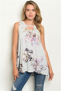 C42-A-4-T30913 GRAY FLORAL TOP 2-2-2