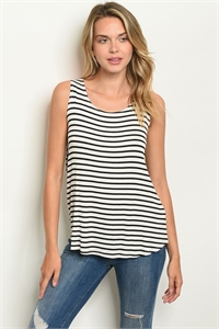 C47-B-1-T2216 IVORY BLACK CORAL STRIPES TOP 1-2-2