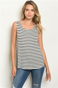 C50-B-2-T2216 IVORY BLACK PINK STRIPES TOP 2-2-2