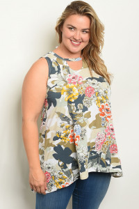 C58-A-1-T30914X OFF WHITE FLORAL PLUS SIZE TOP 2-3-3
