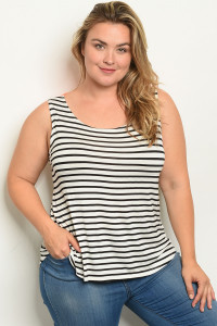 C49-B-2-T2216X IVORY BLACK CORAL STRIPES PLUS SIZE TOP 2-2-2